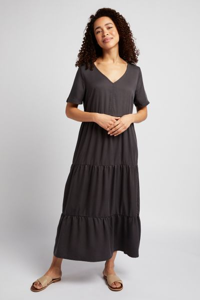 Grey Tencel Tiered Dress