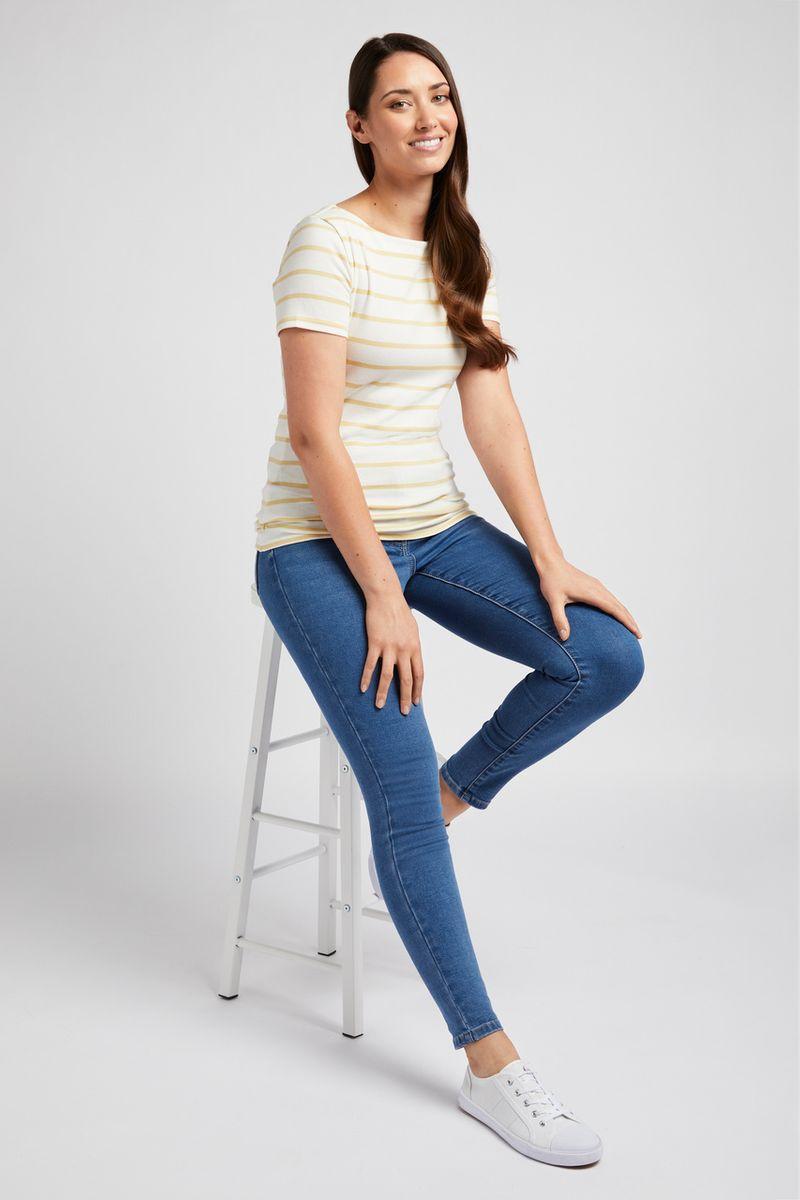 Short Sleeve Yellow Stripe Bardot Top