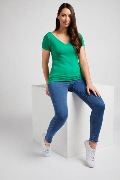 Green V-Neckline Bardot Top