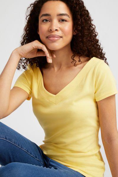 V-neck Lemon Bardot Top