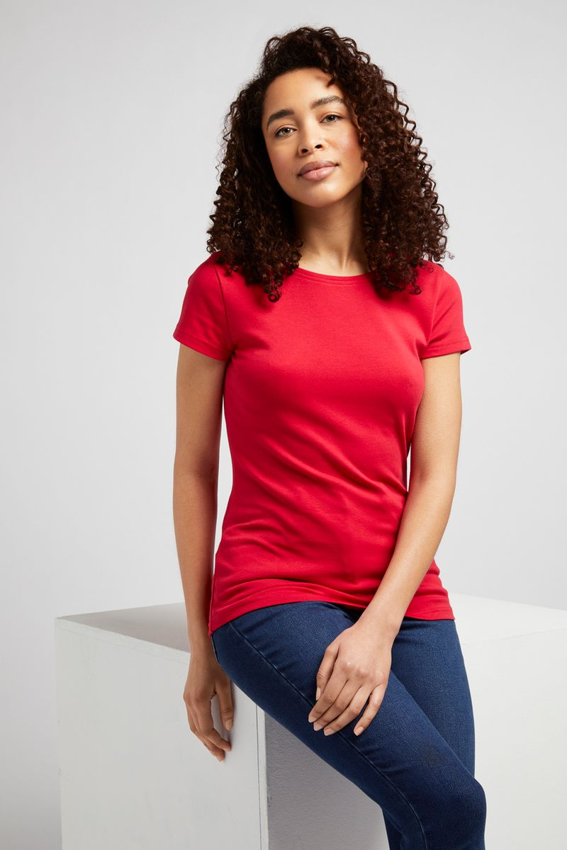 Short Sleeve Red Fitted T-shirt