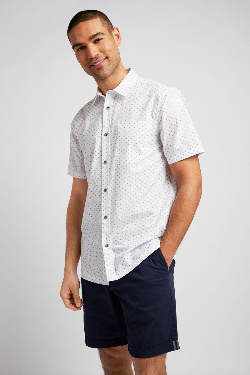 White Ditsy Print Shirt