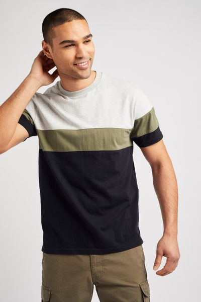 Khaki Colour Block T-shirt