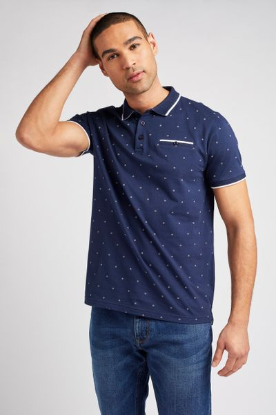 Navy Print Polo shirt