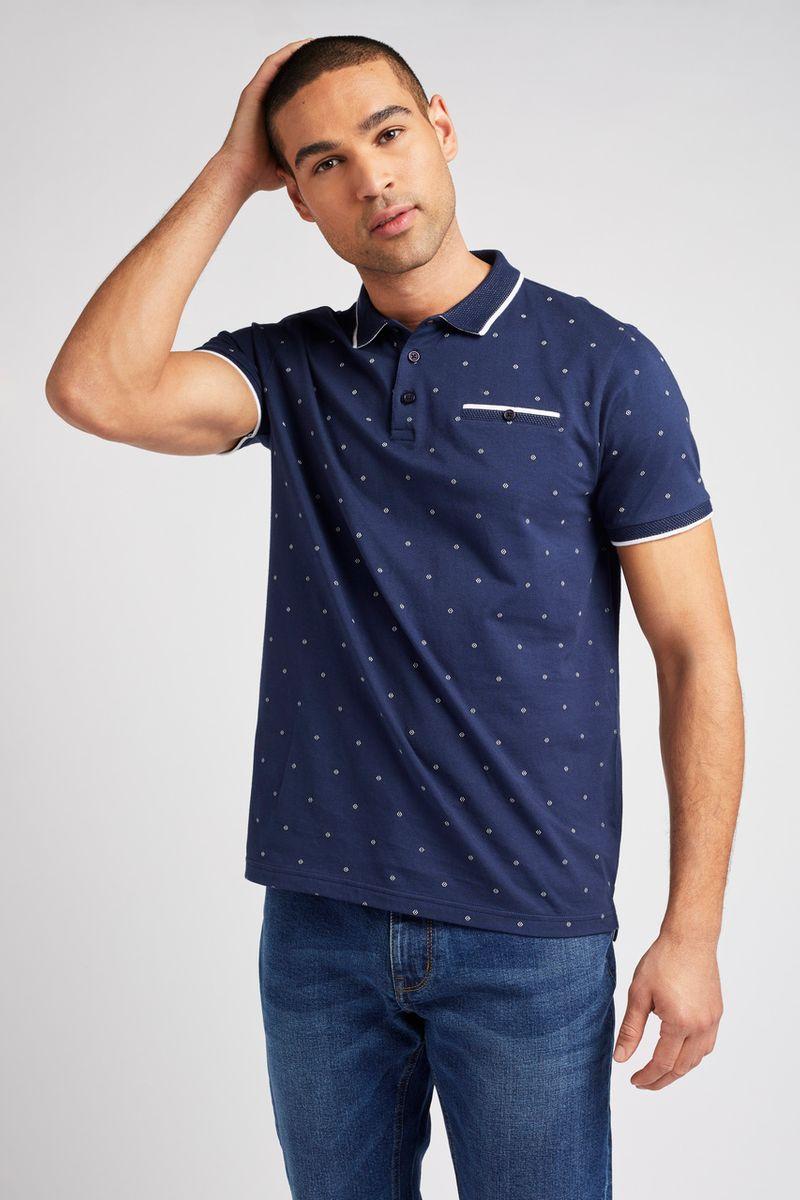 Navy Print Polo shirt
