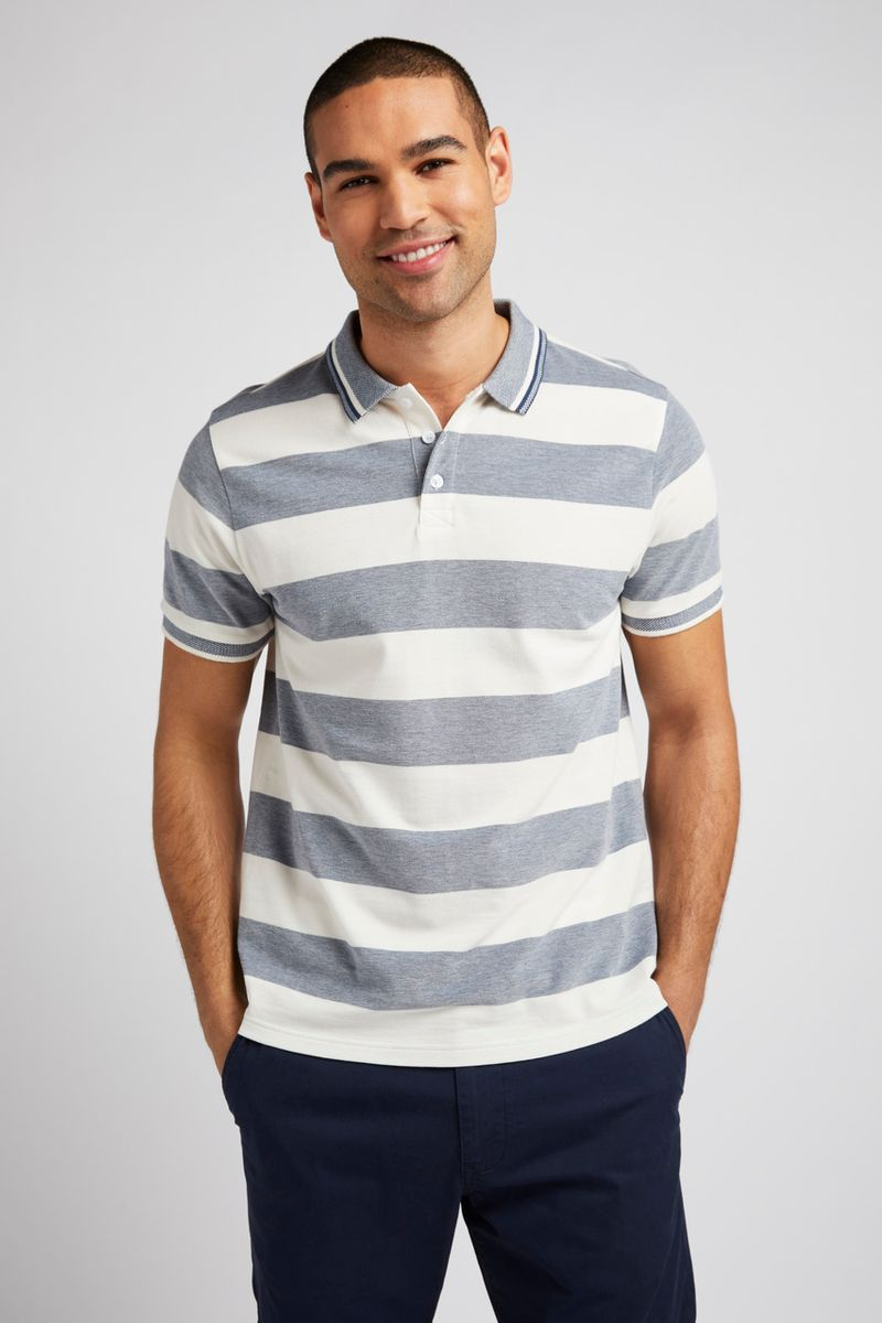 White & Navy Colour Block Polo shirt
