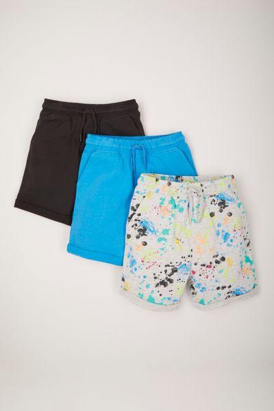 3 Pack Paint Splatter Shorts