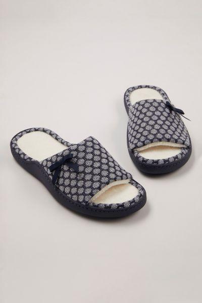 Navy Open Toe Cupsole Slippers