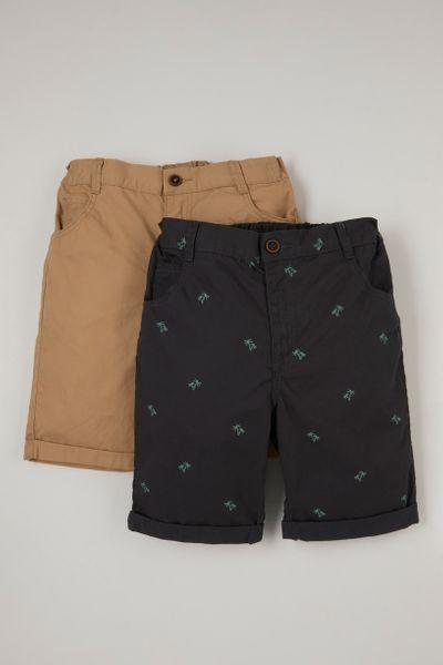 2 Pack Palm Print Chino Shorts