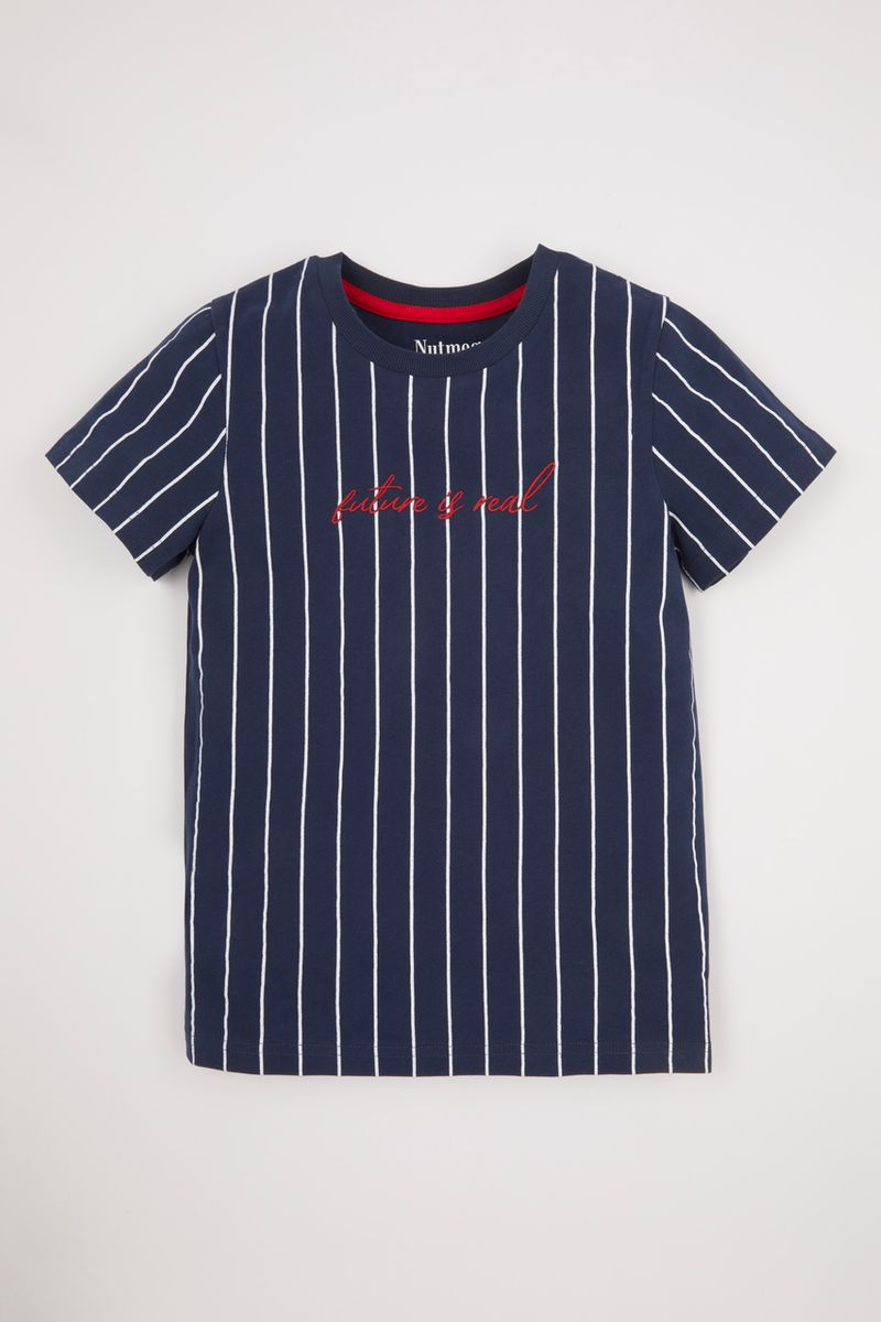 Stripe Print Embroidered T-shirt