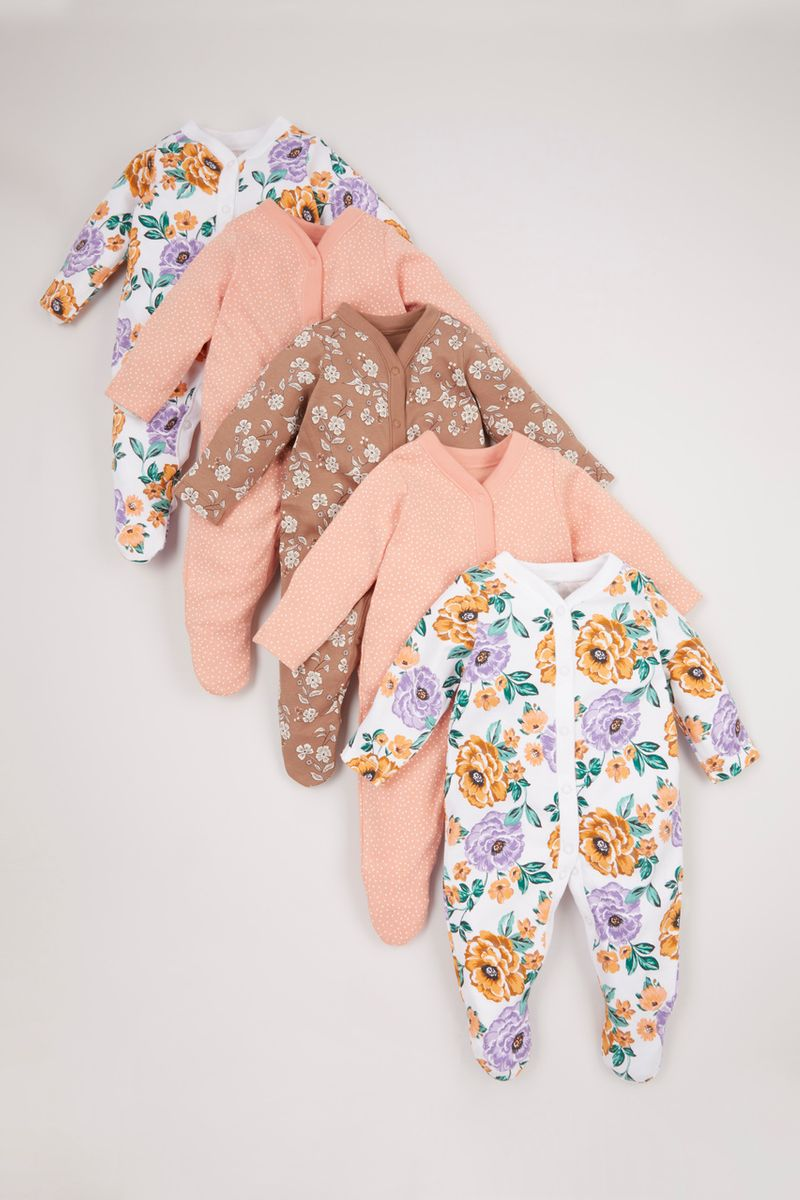 Online Exclusive 5 Pack Flower sleepsuits