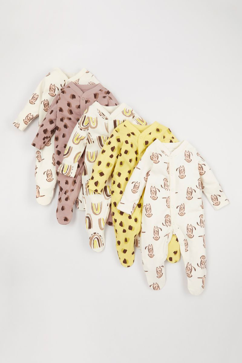 Online Exclusive 5 Pack Meerkat sleepsuits