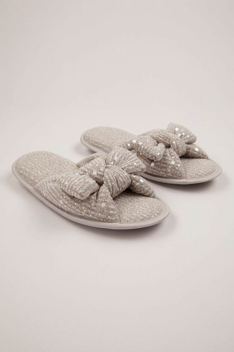 Grey Open Toe Spot Sliders