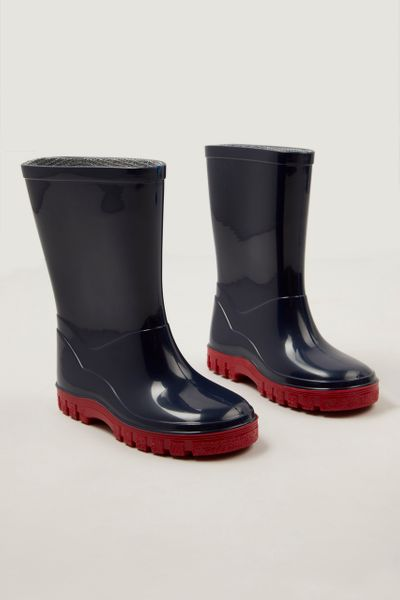 Navy Red Sole Wellies
