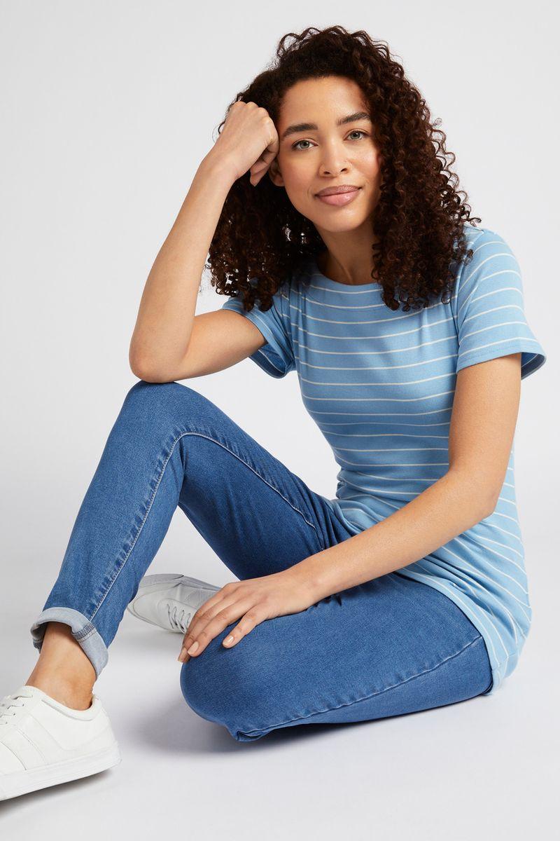 Short Sleeve Blue Stripe Bardot Top
