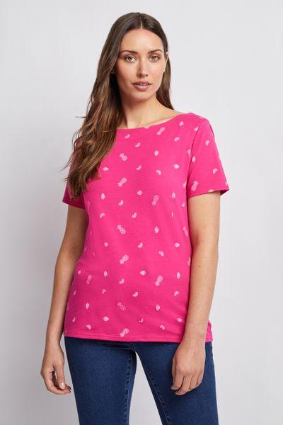 Short Sleeve Fruit Print Bardot Top