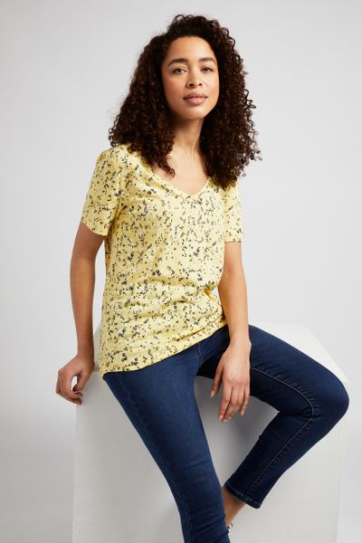 Yellow Floral Loose Fit T-shirt