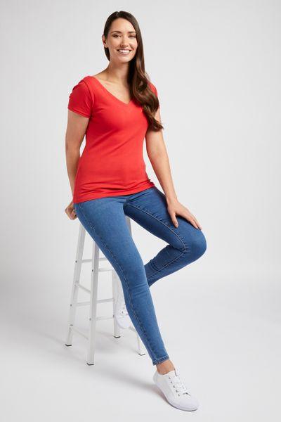 V-neckline Red Bardot Top