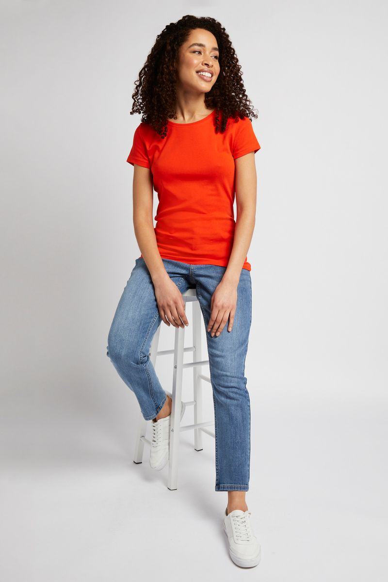 Short Sleeve Orange Fitted T-shirt