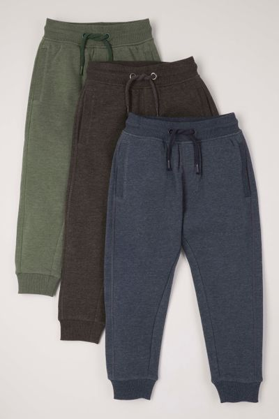 3 Pack Blue Green Charcoal Joggers