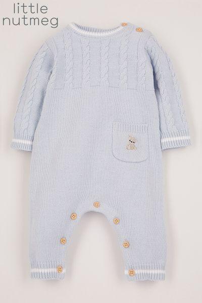 Little Nutmeg Blue Knitted Romper