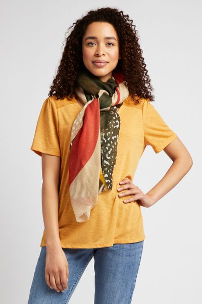 Ochre T-shirt with Scarf