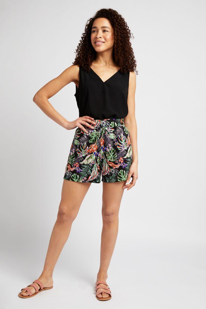 Leaf Print Jersey Shorts