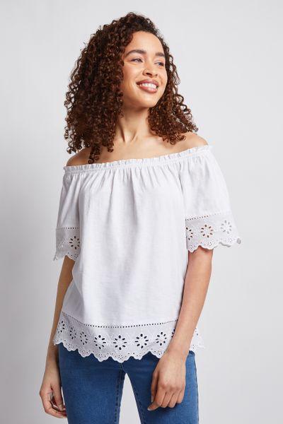 White Off Shoulder Bardot Top