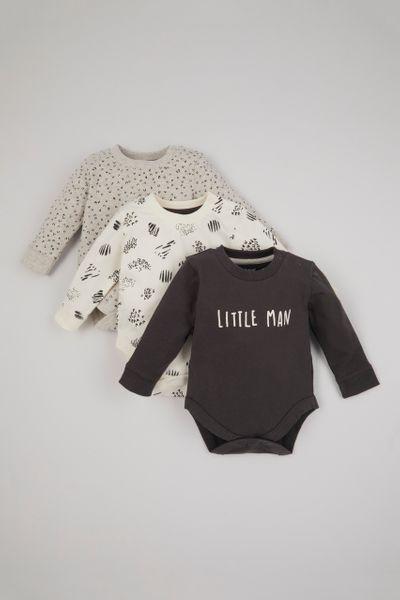 3 Pack Little Man Bodysuits