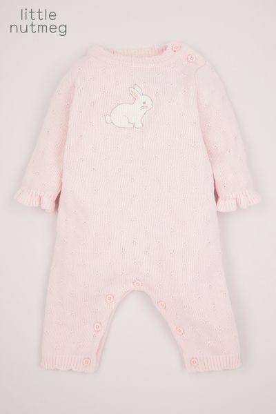 Little Nutmeg Pink Bunny Knitted Romper