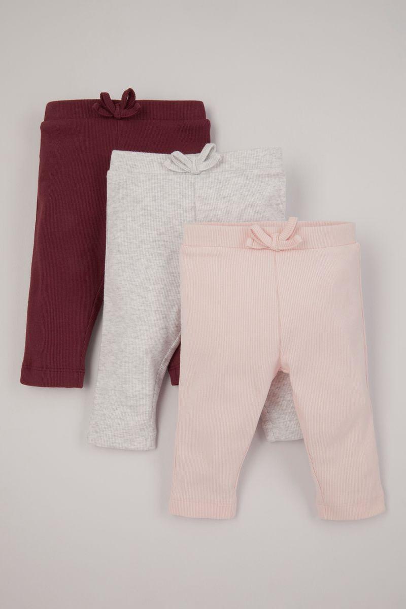 3 Pack Pink Fine Rib Leggings
