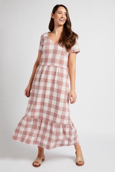 Rust Gingham Check Dress