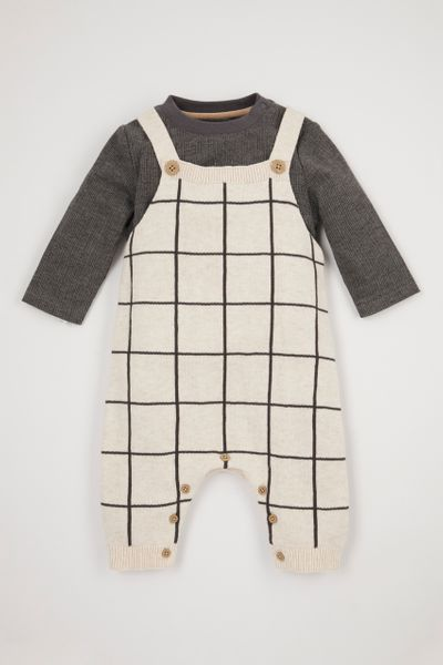 Knitted Check Dungaree Set