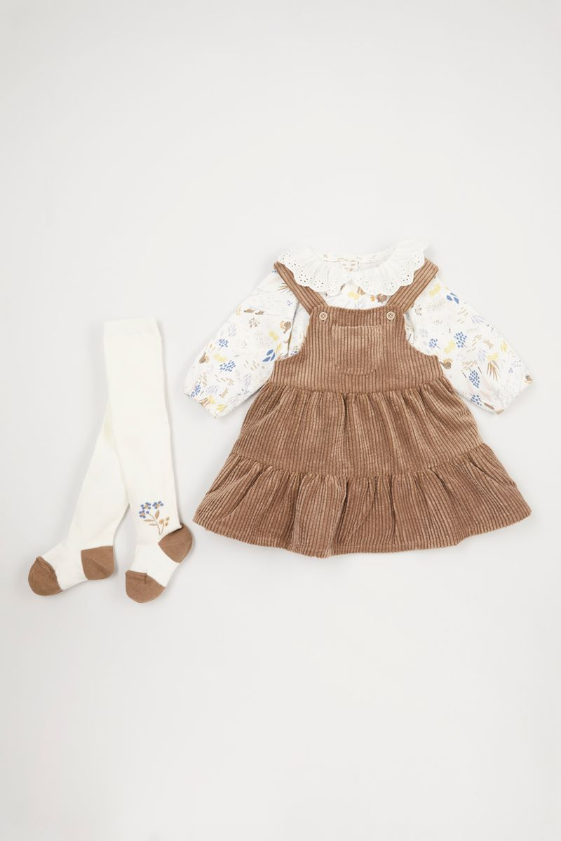 3 Piece Cord Pinafore Dress Set