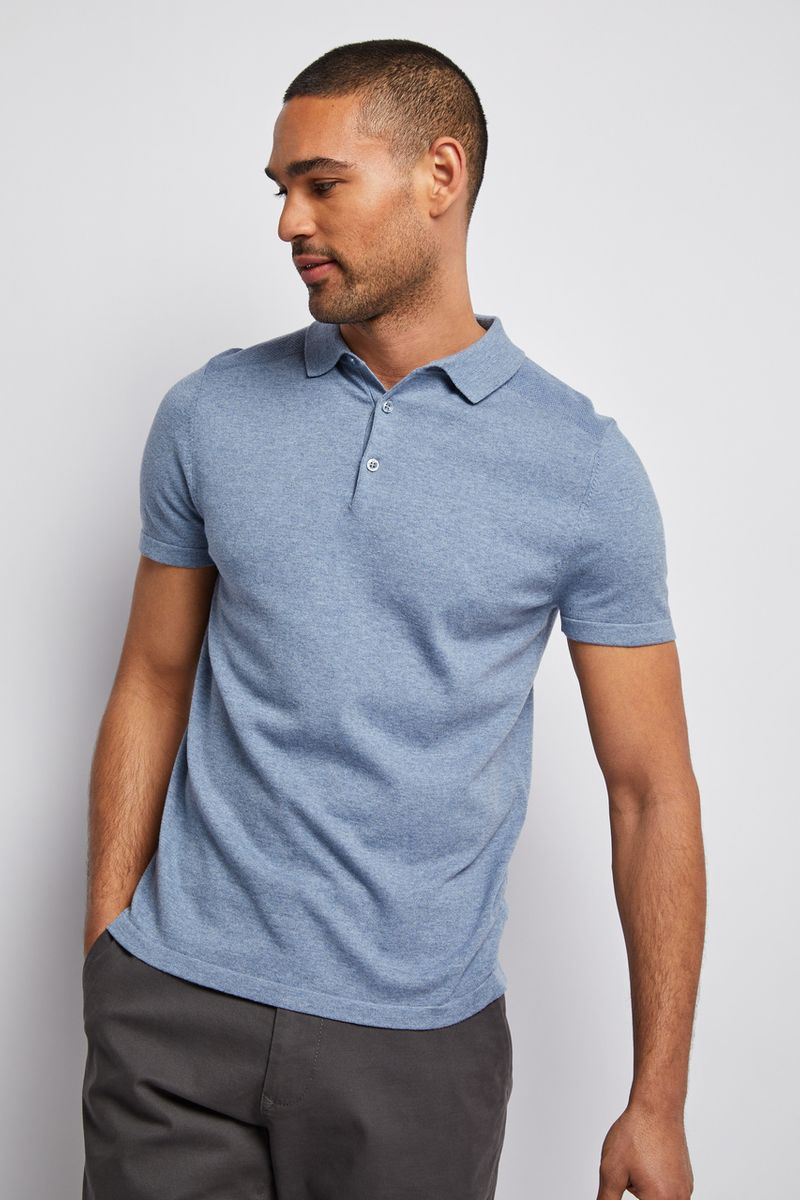 Light Blue Knitted Polo shirt