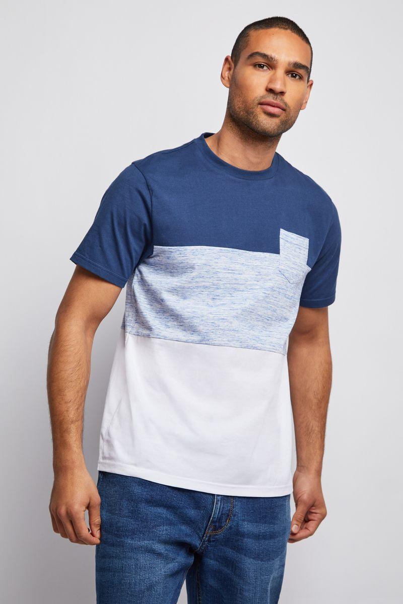 Navy Colour Block T-Shirt