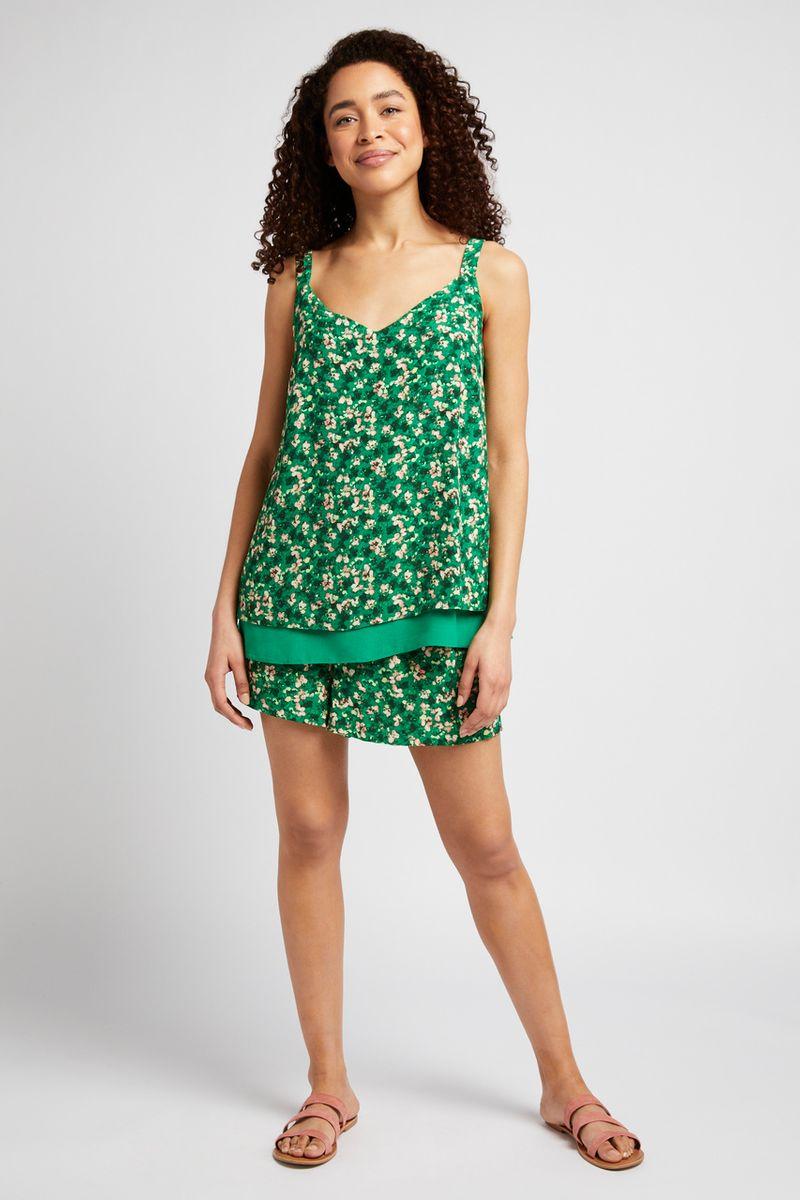 Green Floral Shorts