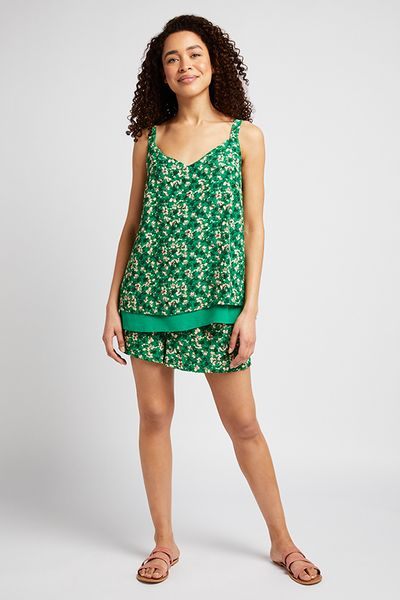 Green Floral Split Back Cami