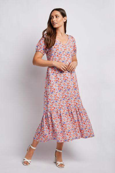 Loose Floral Midi Dress