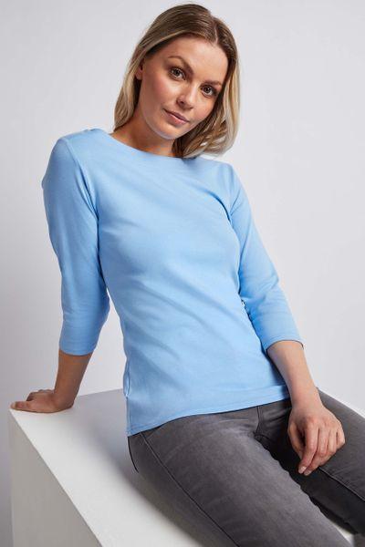 3/4 Sleeve Cornflower Blue Bardot Top
