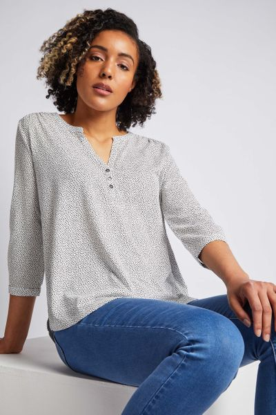 3/4 Sleeve Spot Print Henley Shirt