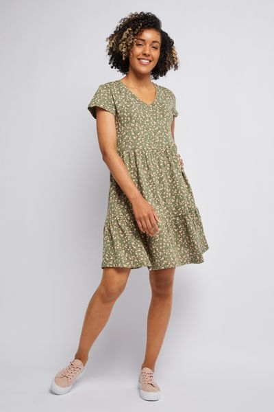 khaki floral jersey tiered dress