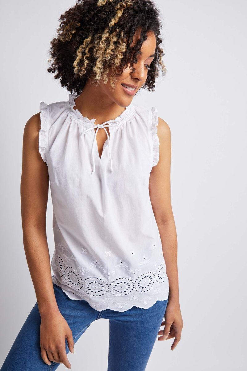 White Tie Front Neckline Vest