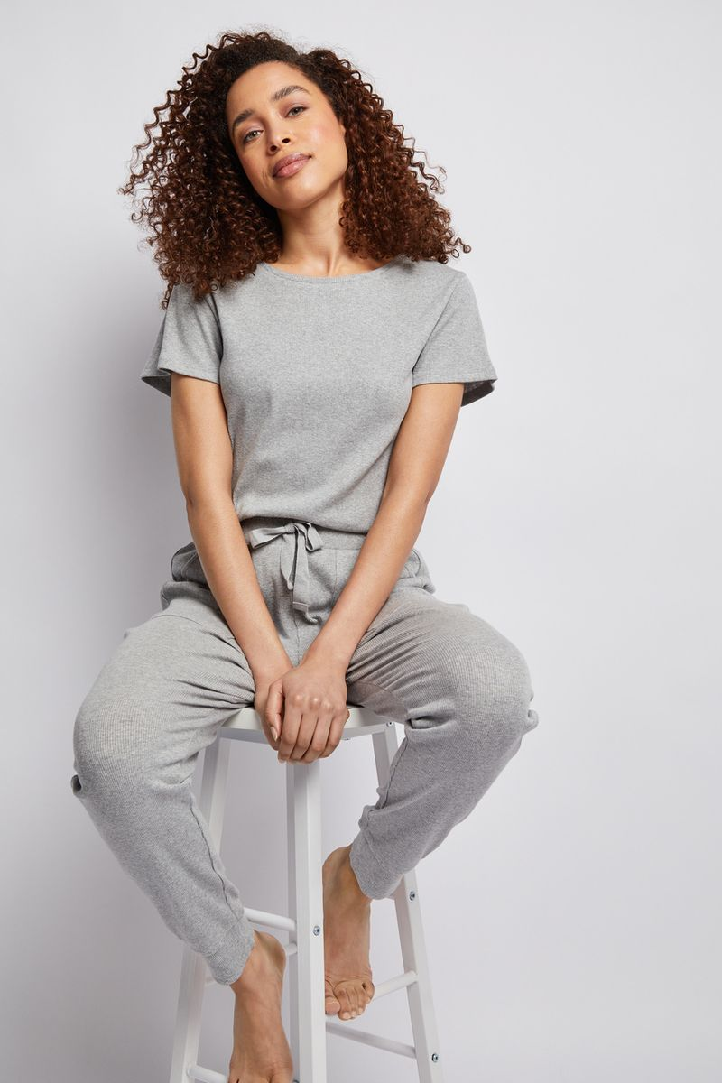 Grey Rib Loungewear Set
