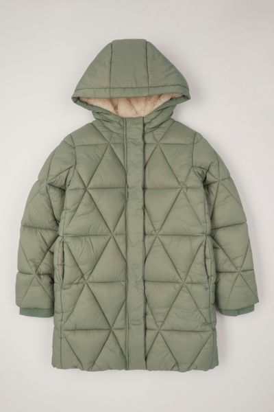 Green Quilted Padded Coat