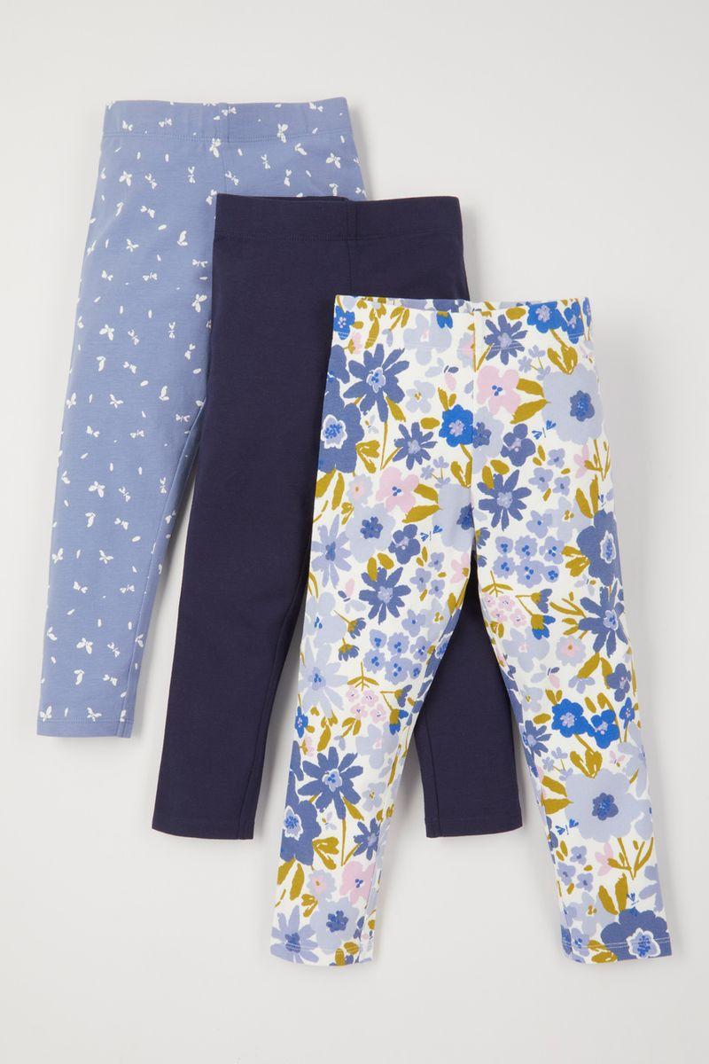 3 Pack Blue Flower leggings