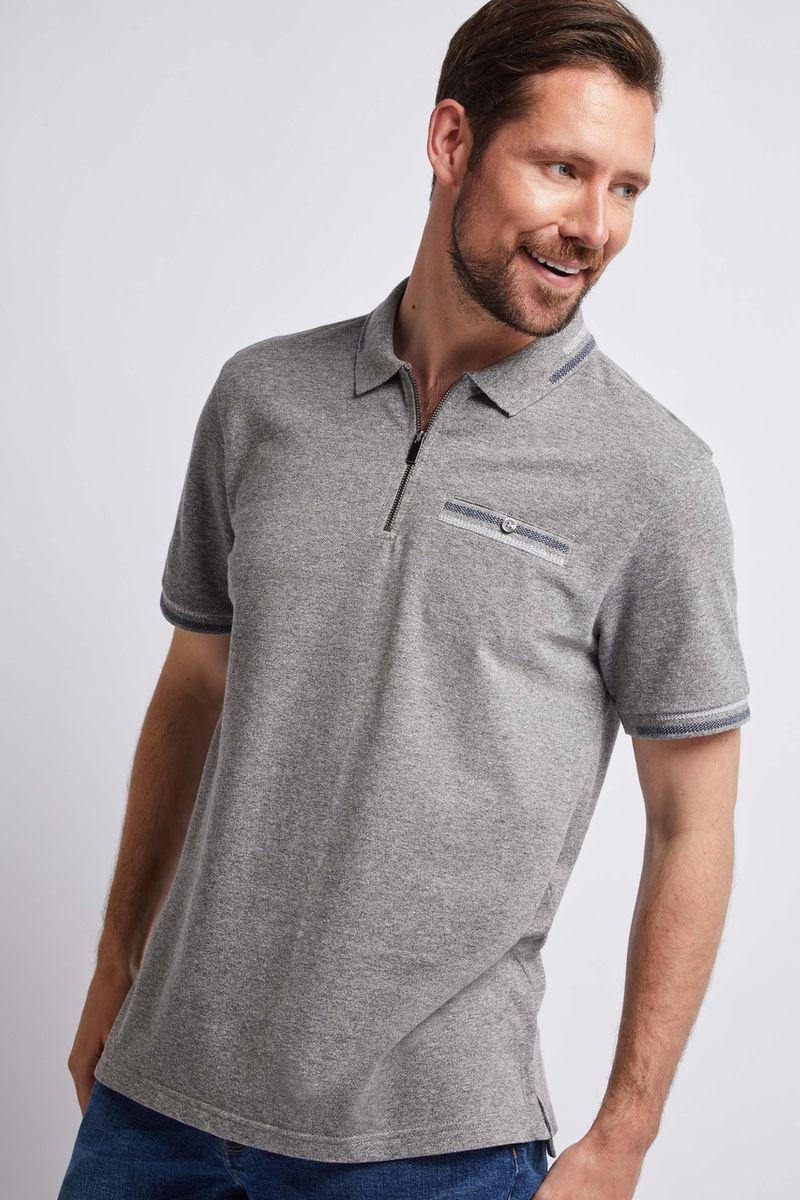 Grey Marl Zip Polo Shirt