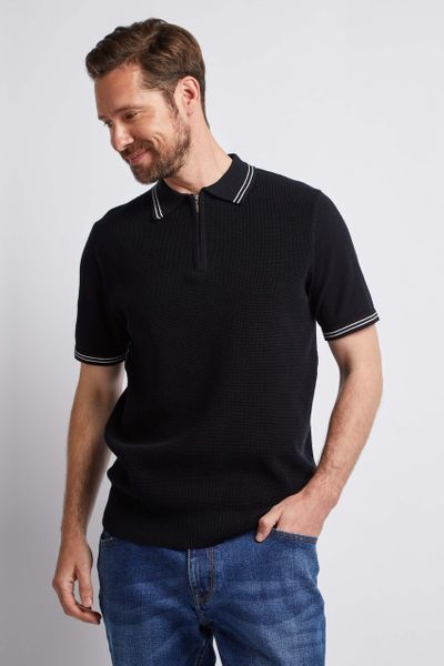 Black Knitted Zip Polo shirt