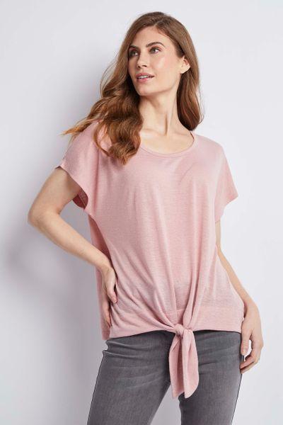 Pink Linen Tie Front Top