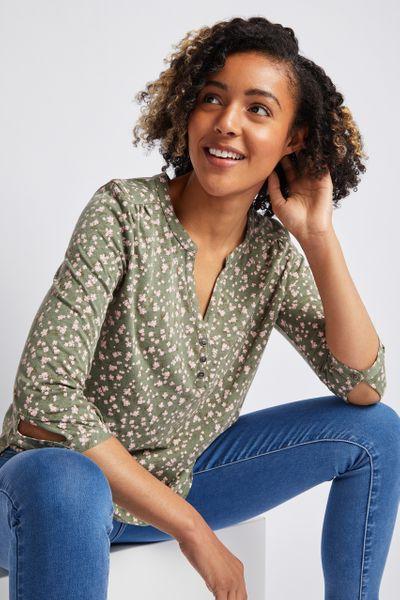 Khaki Floral Henley Shirt